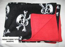GOTH skulls BABY BLANKET FLEECE reversible BLACK/RED stroller cot buggy BNew