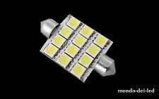 8X Lampada luci targa/interno siluro a led 36/37mm T11 C5W 12 SMD 6000K reali