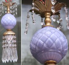 Vintage light purple glass Brass SWAG plugin lamp chandelier crystal prisms