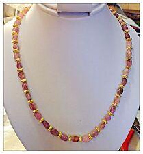 Pink Tourmaline Necklace, Genuine Tourmaline Gemstones, 18 Inch Gold Metal Beads