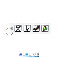 Fabric Key Ring EAT SH!T SLEEP Keychain Pilot Bag Tag Luggage Keytag Keyring