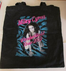 MILEY CYRUS WONDER WORLD TOUR 2009 * BLACK TOTE BAG WITH HANDLES * PRE OWNED