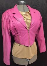 Vintage 80's Yucatan Bay Pink Fuchsia Half Zip Women's Leather Jacket Sz L EUC!