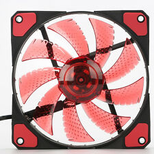 12cm 3 Pin/4 Pin PC Computer CPU-KüHler Kühlkörper Kühlung Lüfter 15-LED Rot Neu