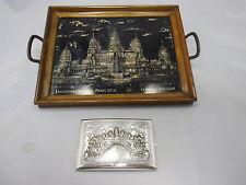 Tablett Perlmutt + Visitenkartenetui massiv Silber Kambodscha Angkor Wat ~ 1930