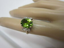 GORGEOUS ESTATE 14 KT GOLD 4.17 CTW. PERIDOT AND DIAMOND RING  !!!!!!!
