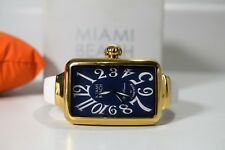 Glam Rock Watch Women's Miami Beach Art Deco Blue Dial Gold Tone Model MBD27133