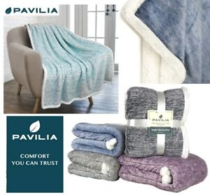 Melange Sherpa Throw Blanket Super Soft Reversible Warm Couch Bed Blanket Fuzzy