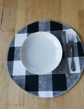 "Set of 4 reversible Round placemats black and white 3"" buffalo check, plaid"