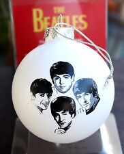 THE BEATLES Christmas Tree Ornament Round White Handcrafted Frosted Glass in box