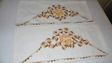 VINTAGE HANDCRAFTED EMBROIDERED FLORAL BROWN YELLOW CROCHET PILLOWCASE SET