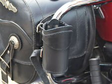 (Pp) LEATHER MOTORCYCLE DRINK CUP CAN BOTTLE HOLDER POUCH