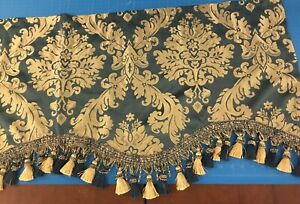 """Croscill Blue And Gold Swag Valance With Mixed Fringe 21""""L X50""""W Luxury Accent"""