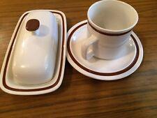 Genuine Stoneware Japan Butterdish & Cup & Saucer Brown Rings