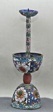 Vintage Chinese Cloisonne Enamel Altar Candle Holder Embellished With Gems c1950