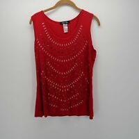 Only Nine Red Scoop Neck Silver Beaded Sequins Sleeveless Tank Top Women's Sz L