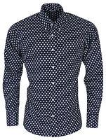 Mens Relco Star Print Shirt Navy Blue Long Sleeve Button Down Collar Mod Vintage