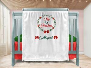 Personalised Baby Christmas Gift Throw Blanket Keepsake Ivory