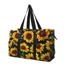 Zip Top Utility Tote Organizer w/pockets purse bag craft FREE SHIP Sunflower