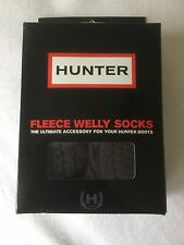 NWT HUNTER Moss Cable Cuff Fleece Welly Sock Size ML 8-10 Graphite Gray
