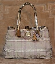 COACH F17213 Signature Striped Tartan Plaid Carryall Handbag/Shoulder Bag