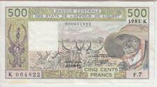 W.A STATES-SENEGAL P706Kc-4822 500 FRANCS 1981 SIG 15 F-CO ALPHABETF7 CUT CRN,EF