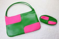 Clinique Womens 2 Piece Make Up Bag And Lipstick Case Pink Green Vintage