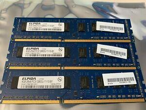 12GB (4GBx3) ELPIDA DDR3 1600MHz 2RX8 PC3-12800U 11-10-B1 Desktop Memory
