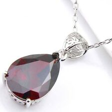 Fashion Natural Jewelry Fire Red Garnet Gems Silver Holiday Pendant Necklace
