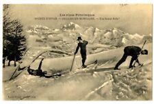 CPA Sports d'hiver Skieurs en Montagne animé