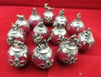 Collect fengshui Decor Inlay tibet silver Dragon 12 Zodiac Red Jade Ball Statue