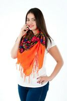 Colourful Large floral folk vintage style scarf shawl fringe new collection-2