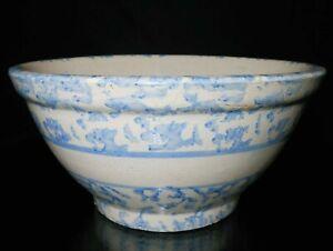 LATE 19TH-EARLY 20TH C AMERICAN ANTIQUE PRMTV BLUE & WHITE DEC SPONGEWARE BOWL