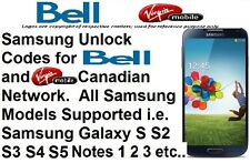 Unlock Code Bell Virgin All Samsung Model Galaxy S3 S4 S5 S6 S7 S8 Note 2 3 4 5