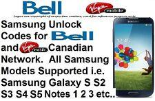 Unlock Code Bell Virgin All Samsung Model Galaxy S3 S4 S5 S6 S7 S8 Note 2 3 4 5