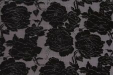 Delicate Sketched Floral Organza Burn Out Dress Fabric Material (Black/Taupe)