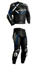 RST TRACTECH EVO R Motorcycle Sports CE Leather Jacket/Trousers 2PC Black/Blue