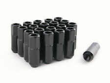 "(20) 12x1.5 Black 60mm Extended Lug Nuts (2.4"") Tuner Racing Cone Seat Open End"