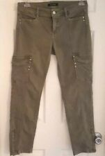 WHITE HOUSE BLACK MARKET Womens Jeans Size 6 Slim Zip Ankle Cargo Rhinestones