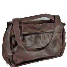 VINTAGE FOSSIL Large Pebbled Leather Messenger Bag Dark Brown Supple Leather