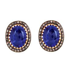 Tanzanite Gemstone 925 Silver Stud Earrings Diamond Pave Gold Wedding Jewelry