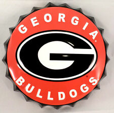 "College Georgia Bulldogs G Bottle Top Metal Sign  19"" Diameter Made In The Usa"