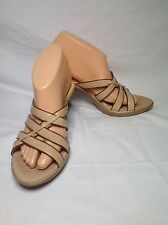 Sofft Tan Beige Leather Sandals Mules Slides Strappy Heels Shoes Size 7 @ cLOSeT