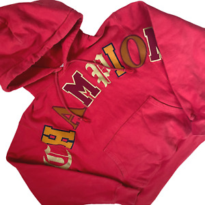 Champion Sweatshirt Red Medium Reverse Weave Spell Out Gold Letters Hooded Thick