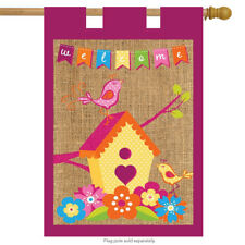 "Spring Birds Burlap House Flag Welcome Floral 28"" x 40"" Briarwood Lane"