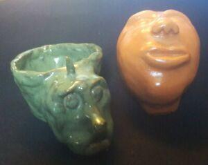 2 Handmade Ceramic Clay Art Face Ogre Planter Whistle Sculpture  Pottery (AC1)