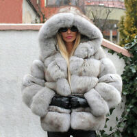 Women's Whole Skin Real Natural Fox Fur Coat Hoodie Jacket Hooded Thick Overcoat