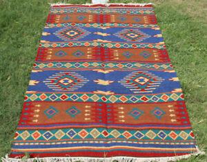Vintage Afghan Baluchi Hand Woven Oriental Kilim Rug Carpet Geometrical 5x8 ft