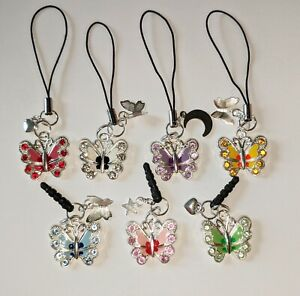 Cell Phone Charm Strap Dust Plug Keychain Custom Colorful Butterfly w/ Crystals
