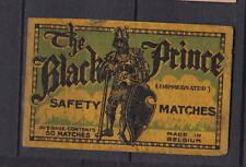Ancienne étiquette  allumettes Belgique    AZ5663  Chevalier Noir
